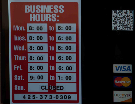 Our Business Hours Sign.