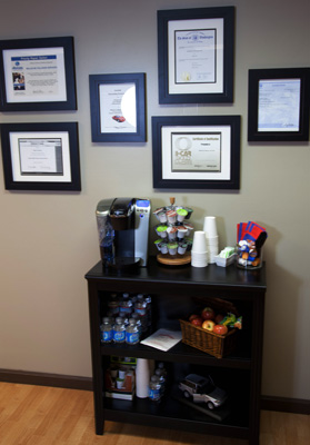 Our certifications and awards, as well as our condiments bar.